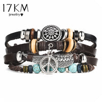 Punk Design Turkish Eye Bracelets For Men Woman New Fashion Wristband Female Owl Leather Bracelet Stone Vintage Jewelry