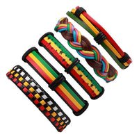 1Set /6PCs Black Leather Bracelet Men Multilayer Braid Bracelets & Bangles Punk Wrap Bracelets for Women Punk Casual Men Jewelry