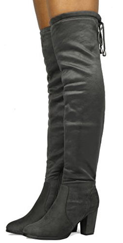 DREAM PAIRS Women's Thigh High Fashion Over The Knee Thigh High Block Heel Boots - BLUENYLEDIRECT