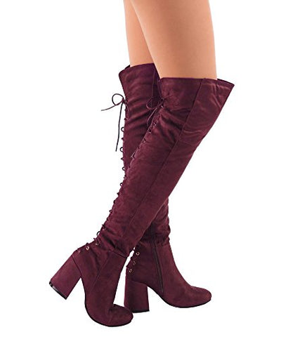RF ROOM OF FASHION Women Fashion Comfy Vegan Suede Block Heel Side Zipper Thigh High Over The Knee Boots - BLUENYLEDIRECT