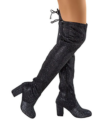 RF ROOM OF FASHION Women's Thigh High Over The Knee Block Chunky Heel Pointy Round Toe Boots - BLUENYLEDIRECT