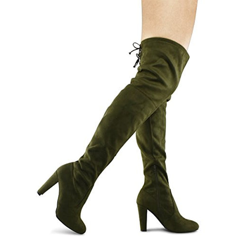 Premier Standard Women's Over The Knee Boot - Sexy Over The Knee Pullon Boot - Trendy Low Block Heel Shoe - Comfortable Easy Heel Boot - BLUENYLEDIRECT