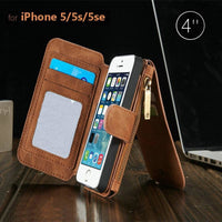 CaseMe Vintage Magnetic Leather Multifunction Wallet Card Pocket Zipper Flip Case Cover For iPhone SE 5 5S - BLUENYLEDIRECT