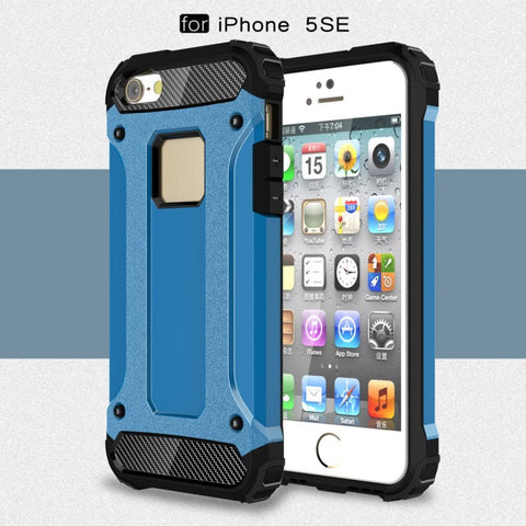 TPU PC Dual Defender Shockproof Case For iPhone 5 5s SE - BLUENYLEDIRECT