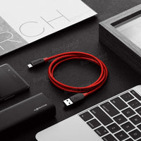 AmpCore BW-TC6 3A USB Type-C Braided Charging Data Cable 6ft/1.8m With Magic Tape Strap - BLUENYLEDIRECT