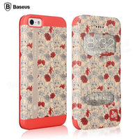 BASEUS Ladies Collection Blossom Filp Leather Case Cover For Apple iPhone 5 5S - BLUENYLEDIRECT