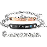 Her King His Queen Couple Bracelets Stainless Steel Crystal Crown Charm Bracelets For Women Men Drop Shipping