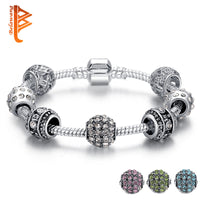 Fashion Women Bracelet Silver Color Crystal Bead Charm Bracelet For Women Christmas Jewelry Original Bracelets Gift