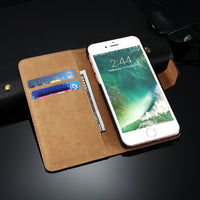 Book Flip Case For iPhone 7 Plus 6 6S Plus Vintage Leather Mobile Phone Cover Card Slot Stand For iPhone 7 5S 5 SE Case - BLUENYLEDIRECT