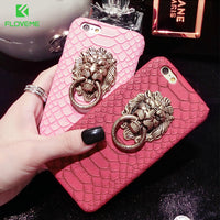 Case For iPhone 7 Plus Retro Snake Skin Metal Lion Head Ring Phone Stand Cover For iPhone 6 6S iPhone 6 6S Plus 5 5S SE - BLUENYLEDIRECT