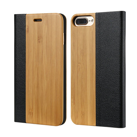 Flip PU Leather Bamboo Wood Combo Case For iPhone 6 6S For iPhone 6 Plus 6S Plus Phone Case For iPhone 7 7 Plus Cases - BLUENYLEDIRECT