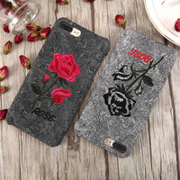 Flower Case For iPhone 6 6S iPhone 7 8 Plus Handmade Embroidery Rose Cases For iPhone X iPhone 5S 5 SE Phone Cover Capa - BLUENYLEDIRECT