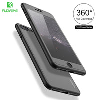 Apple iPhone 7 Plus For iPhone 6 6S Plus 5 5S SE 360 Full Body Cases + Tempered Glass Film For iPhone 7 Plus Case - BLUENYLEDIRECT