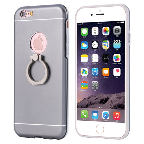 For iPhone 5 5S SE Aluminum Cover Metal Silicone Hybrid Armor Case For iPhone 5 5S For iPhone SE Ring Phone Stand Coque - BLUENYLEDIRECT