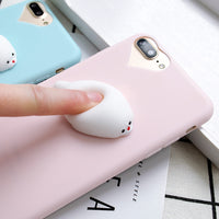 For iPhone 7 8 Plus 5S 5 Case Cute 3D Squishy Doll Cat Seal Phone Cases For iPhone 6 6S 5S 5 SE Case Silicon Accessories - BLUENYLEDIRECT