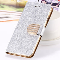 For iPhone 7 8 Plus iPhone X Case Luxury Leather Wallet Pouch For iPhone 5 5S SE 6 6S 7 8 Plus Glitter Crystal Cases - BLUENYLEDIRECT