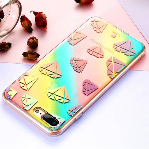 Fun Case For iPhone 7 iPhone 7 Plus Cases Colorful Changing Light Phone Case For iPhone 6 6S Plus Hard PC Soft TPU Cover - BLUENYLEDIRECT