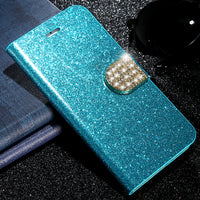 Luxury Rhinestone Flip Case For iPhone 6 6S Plus 7 8 Plus iPhone X Wallet Stand Leather Cover For iPhone 5S 5 SE Case - BLUENYLEDIRECT
