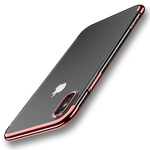 "Original For iPhone X 10 5.8"" Cases , Luxury Plated Crystal Clear Silicon Cover For iPhone 8 7 Plus Transparent Cases - BLUENYLEDIRECT"