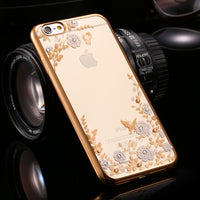 Phone Case For iPhone 8 7 6 6S Plus 5 5S SE Cases Flower Diamond Clear Silicone Cover For iPhone 8 7 iPhone 6 6S Fundas - BLUENYLEDIRECT
