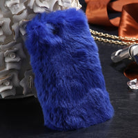 Rabbit Hair Case For iPhone 6 6S For iPhone 6 Plus 6S Plus 5 5S SE Cover Bling Diamond Fur Cover For iPhone 7 Plus Case - BLUENYLEDIRECT