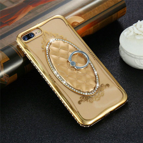 Rhinestone Ring Holder Case For iPhone 7 6 6S Plus Glitter Luxury Crystal Stand Cases For iPhone 6 7 Women Accessories - BLUENYLEDIRECT