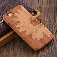 Wooden Case For iPhone 6 6S Plus 5S 5 SE 3D Wood Bamboo Wolf Cross Cover For Samsung Galaxy S6 S7 Edge Phone Cases Bags - BLUENYLEDIRECT