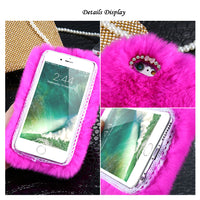 i5 5S SE Mobile Phone Cases Chic Warm Fluffy Rabbit Hair Cover Case For iPhone 5 5S SE i6 6S Plus For iPhone 7 Plus Bag - BLUENYLEDIRECT