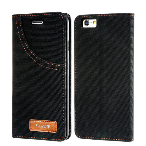 i6 6S Plus Leather Case! 2017 Cool Denim Jeans Wallet Cover Card Holder For iPhone 6 6S For iPhone 6 Plus 6S Plus Capa - BLUENYLEDIRECT