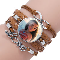 Fashion Elsa Anna Princess Portrait Glass Cabochon Infinity Love Leather Bracelet For Girls Women Movie Accessories Jewelry Gift