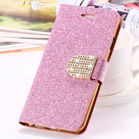For iPhone 6 6S Plus 7 Plus Cover Glitter Bling Crystal Diamond Leather Wallet Case For Samsung Galaxy S6 Edge Plus S7 Edge Bags - BLUENYLEDIRECT