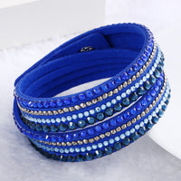 Fashion Rhinestone Leather Wrap Bracelet Crystal Multilayer Bracelets bangles for Women/Men Free Shipping