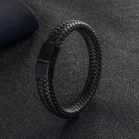 Men Jewelry Punk Black Braided Genuine Leather Bracelet Stainless Steel Magnetic Buckle Fashion Bangles 22/20.5cm