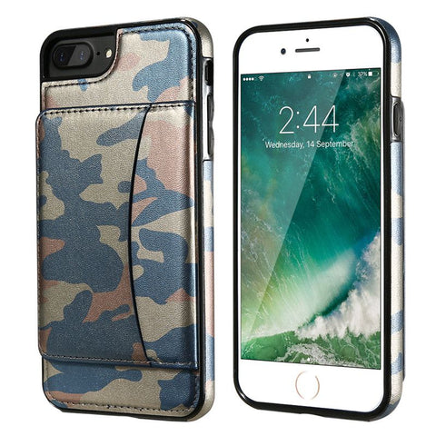 Cool Army Camouflage Case For iPhone 7 6 6S Kickstand Card Slot Cover For iPhone 6 6S iPhone 7 Plus Wallet Leather Bag - BLUENYLEDIRECT