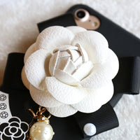 For iPhone 6 6S iPhone 7 Silicon Case Cover Camellia Flower Glitter Pearl Phone Cases For iPhone 6 6S 7 Plus Capa Bags - BLUENYLEDIRECT