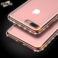Rhinestone Transparent Case For iPhone 7 6 6S Plus 5 5S SE Glitter Clear Silicon Cover For iPhone 6 6S 7 Phone Bag Case - BLUENYLEDIRECT