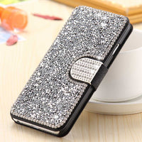 Wallet Pouch Case For iPhone 6 6S Plus 5 5S SE Fashion Bling Diamond Stand Leather Phone Cover For iPhone 6 6S Plus Bag - BLUENYLEDIRECT