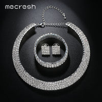 Mecresh Crystal Bridal Jewelry Sets Silver Color Rhinestone Necklace Wedding Engagement Jewelry Sets for Women TL299+SL116