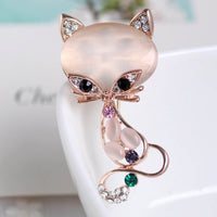 Fashion Hot Sale Gold Filled Multicolor Opal Stone Fox Brooches Women's Fashion Cute Animal Pin Brooch Jewelry