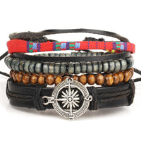 Fashion accessories anchor Bead Leather Bracelets & bangles 4 pcs 1 Sets Multilayer Braided Wristband