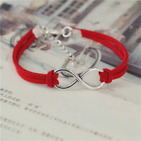 Fashion infinity Rope bracelet Hand-woven 15 Color silver Korean Velvet bracelet Fashion Wrap Leather Jewelry