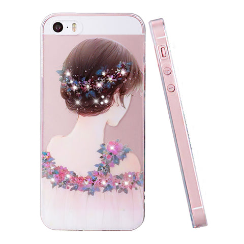 iphone 5se case Rhinestone glitter silicone cover original For iphone 5 s luxury 3D cute cartoon Shell For iphone 5S - BLUENYLEDIRECT