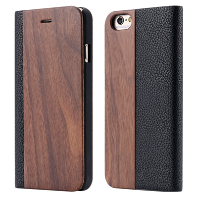 Retro Luxury Leather + Bamboo Wood Flip Case For Apple iPhone 6 6S Plus For iPhone 7 Fashion Card Slot Wallet Litchi Cover Bags - BLUENYLEDIRECT