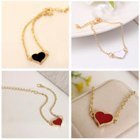 Fashion Red Love Heart Metal Bracelets For Women Gold Color Bracelets & Bangles Best Gift Party Wedding Jewelry