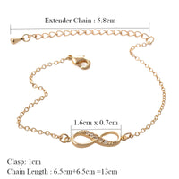 Fashion Infinity Bracelet for Women with Crystal Stones Bracelet Infinity Number 8 Chain Bracelets
