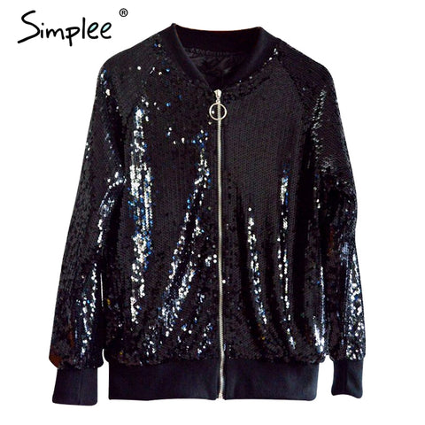 Silver sequin zipper jacket coat Autumn winter long sleeve black bomber jacket outerwear Casual - BLUENYLEDIRECT