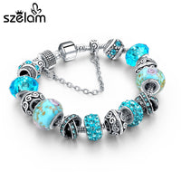 Crystal Beads Bracelets Bangles Silver Plated Charm  Bracelets For Women Friendship