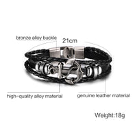 Vintage Anchor Bracelet Black Leather Charm Bracelets Men Jewelry Party Gift