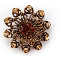 Vintage Gold Color Plated Crystal Rhinestones Flower Antique Brooch Pins for Women in Assorted