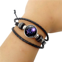 Zodiac Glass Metal Buckle Charm Bracelet Women Fashion Constellation Jewelry Black Weave Multilayer Leather Bracelet